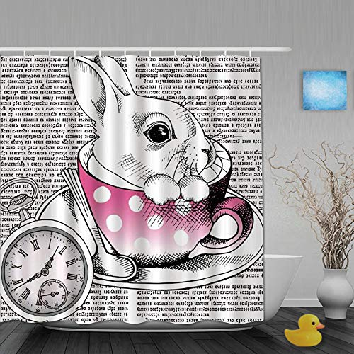 Ngkaglriap Cortina de Baño,Animal Clock Fairytale Cute Rabbit en Coffee Cup Ancient Writing,Cortinas de Ducha con 12 Ganchos de plástico 180 * 180cm de Ngkaglriap