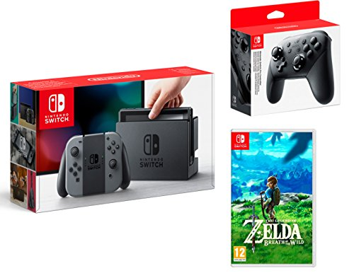 Nintendo Switch consola 32Gb Gris + The Legend of Zelda: Breath of the Wild + Nintendo Pro Controller de Nintendo