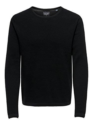 Only & Sons ONSPANTER 12 STRUC Crew Neck Knit Noos Suter Pulver, Negro, XXL para Hombre de Only & Sons