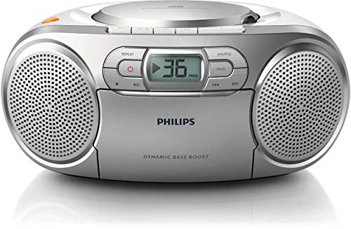 Philips AZ127/12 - Unidad de CD (stereo, Dynamic Bass Boost, 2 W, FM, Portable CD player), Plateado de Philips