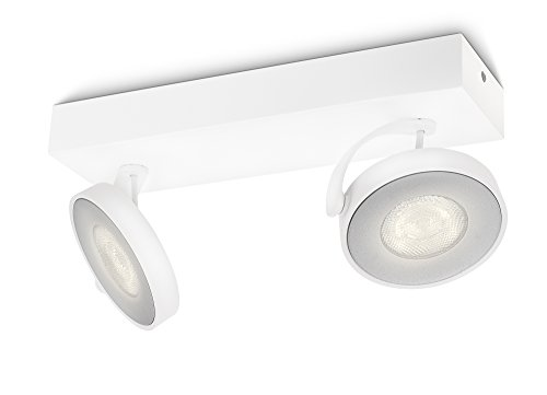 Philips myLiving Clockwork - Barra de 2 focos LED, iluminación interior, aluminio, color blanco luz blanca cálida de Philips