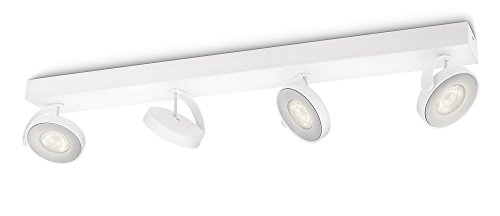 Philips myLiving Clockwork - Barra de 4 focos LED, iluminación interior, aluminio, color blanco luz blanca cálida de Philips