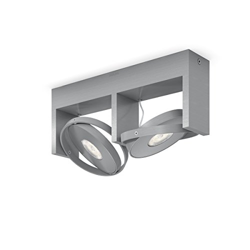 Philips myLiving Particon-Barra de Dos focos de Techo, LED Integrado,Consume 4.5 W, luz Blanca cálida, Regulable, Aluminio, 2 de Philips