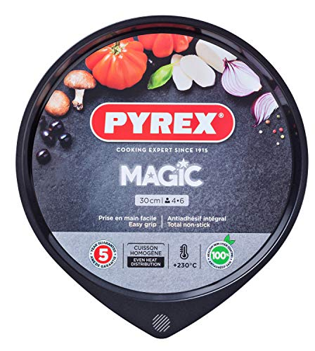Pyrex Magic Bandeja de Horno para Pizza, Acero Inoxidable, Negro, 30 cm de Pyrex