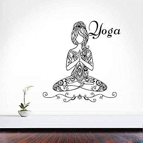 Tatuaje de pared Decoración Etiqueta de la pared Yoga Pose Chica Habitación Pared 62X59Cm de QIAOYUE