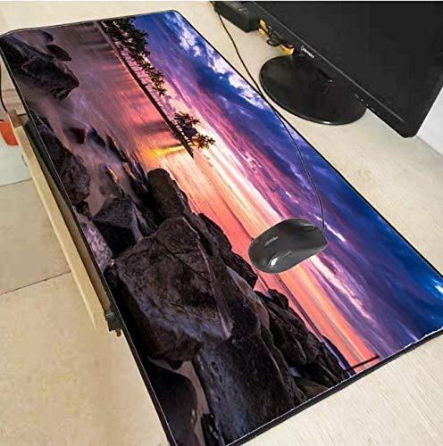 QWE Alfombrilla de ratón Grande Mouse Pad Ocean Beach Scenery Lock Edge Large Gaming Mouse Pad Computer Gamer Keyboard Alfombrilla de ratón Escritorio Mouse Pad 800 * 300 * 3mm de QWE