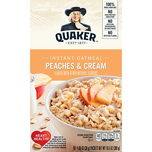 Quaker Instant Oatmeal, Peaches & Cream, Breakfast Cereal, 10 (1.23 Oz) Packets Per Box (Pack of 4) de Quaker