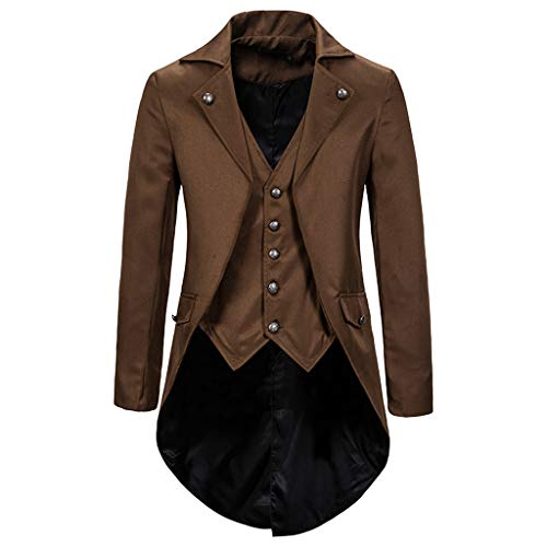 Rabbiter Mens Gothic Frock Coat Steampunk Gothic Costume Cosplay Lapel Suit Coat Tailcoat Jacket (Coffee, M) de RABBITER