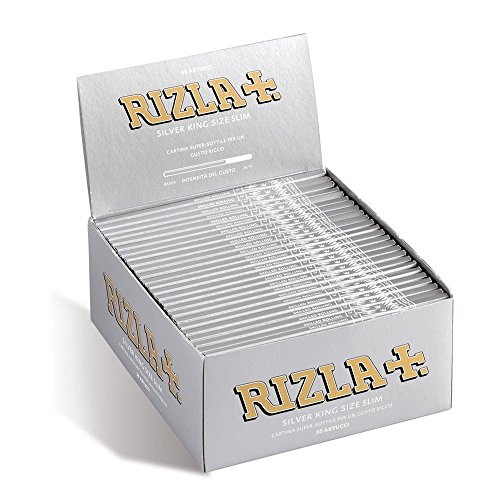 RIZLA SILVER KING SIZE ULTRA SLIM ROLLING PAPER BOX OF 50 BOOKLETS by Rizla de Rizla