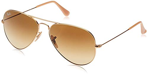 Ray-Ban Aviator Large Metal, Gafas de Sol Unisex Adulto, Marrón (Matte Gold/ / Brown Gradient Lens), 58 mm de Ray-Ban
