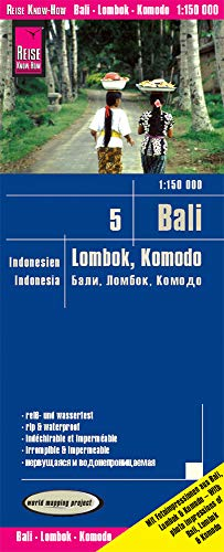 Bali, Lombok y Komodo, mapa de carreteras impermeable. Escala 1:150.000. Reise Know-How. de Reise Know-How Rump GmbH