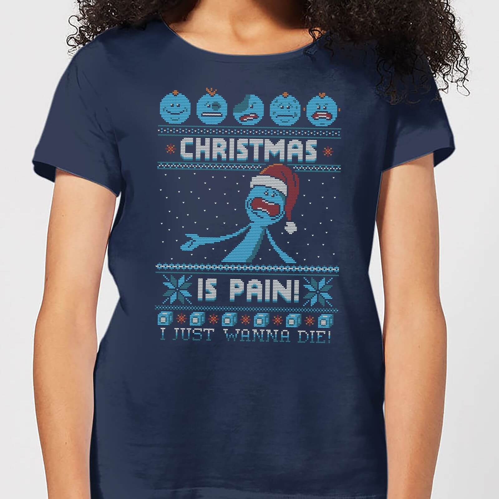 Rick and Morty Mr Meeseeks Pain Women's Christmas T-Shirt - Navy - S - azul marino de Rick and Morty