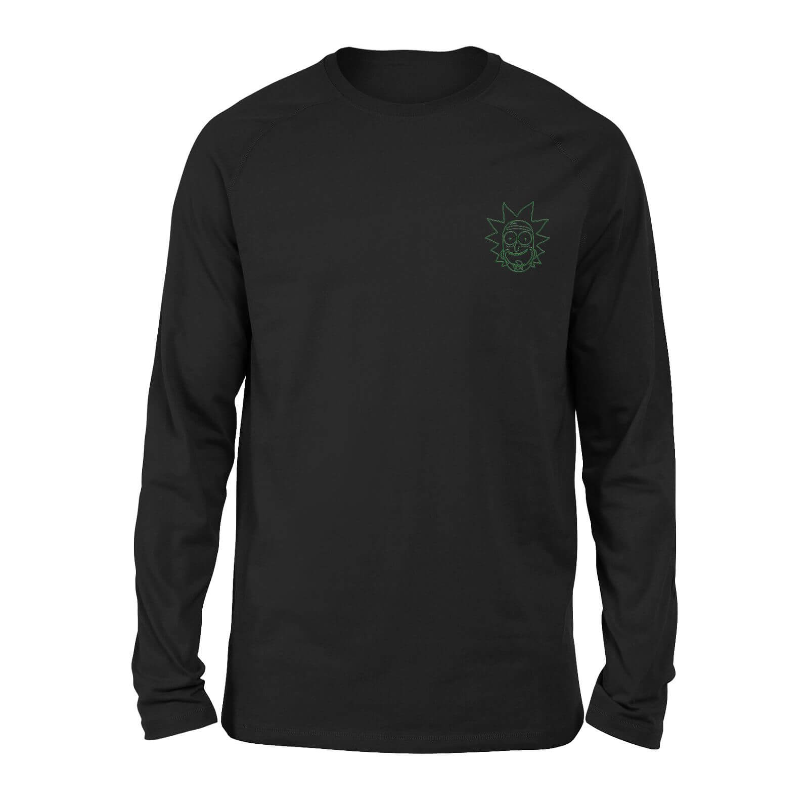 Rick and Morty Rick Embroidered Unisex Long Sleeved T-Shirt - Black - S de Rick and Morty