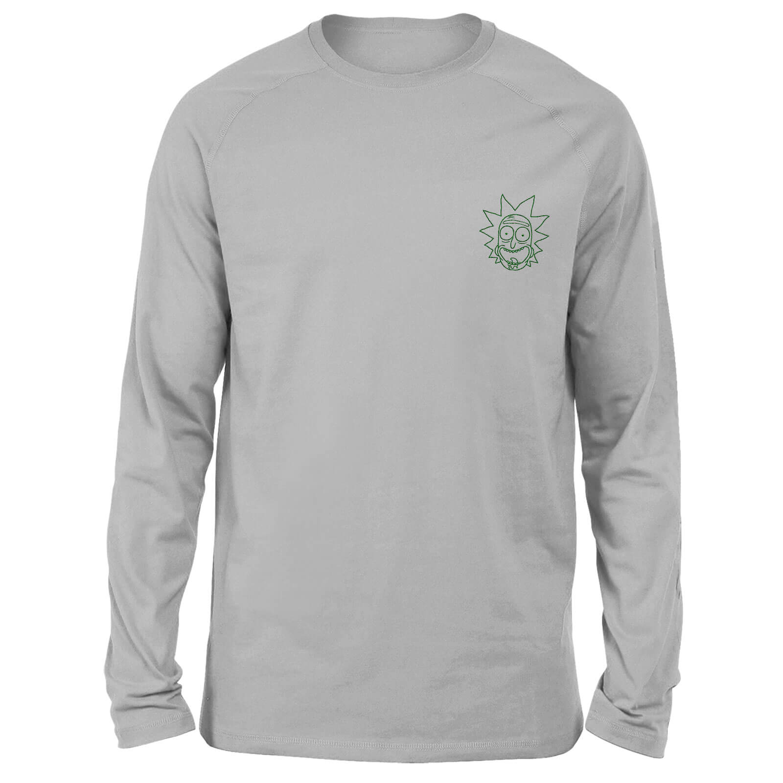 Rick and Morty Rick Embroidered Unisex Long Sleeved T-Shirt - Grey - M de Rick and Morty