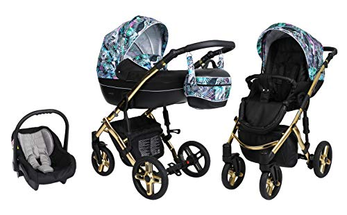 Saintbaby Retro Cochecito de Bebé Trio Silla de Coche Grupo 0 Plus Isofix 3en1 2en1 4en1 Lava Gold Magic 06 3in1 con Silla de coche de SaintBaby