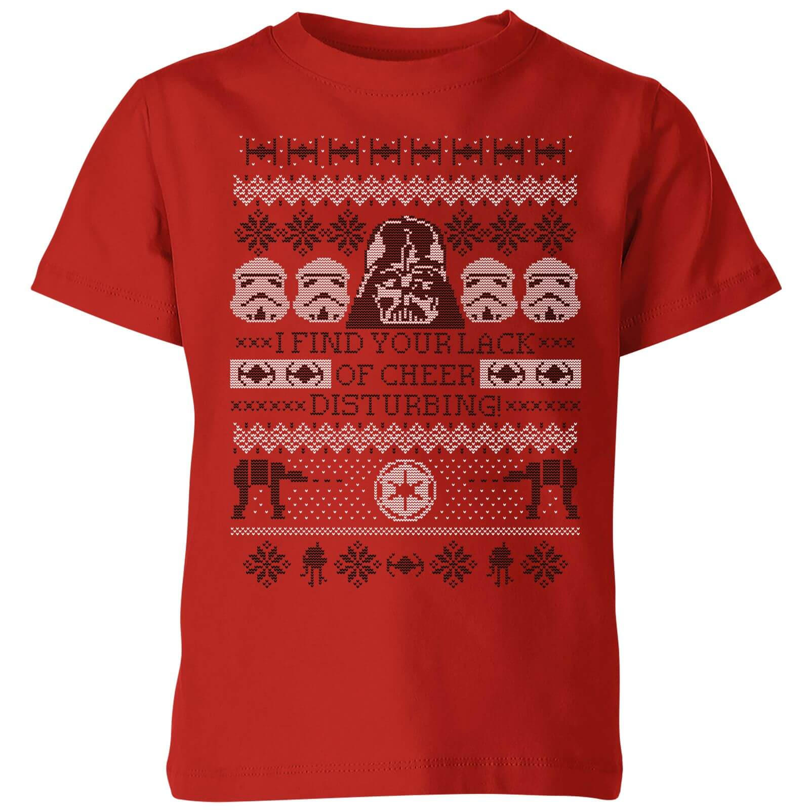 Star Wars I Find Your Lack Of Cheer Disturbing Kids Christmas T-Shirt - Red - 11-12 años - Rojo de Star Wars