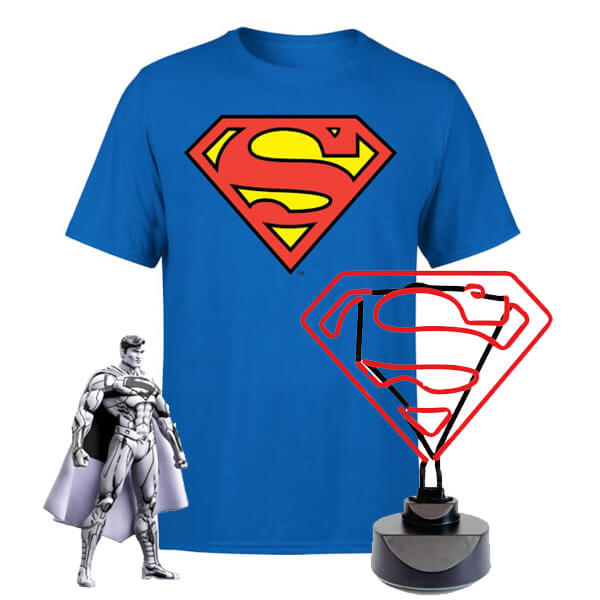 Pack DC Superman: Camiseta + Figura + Lámpara Neón - S de DC Comics
