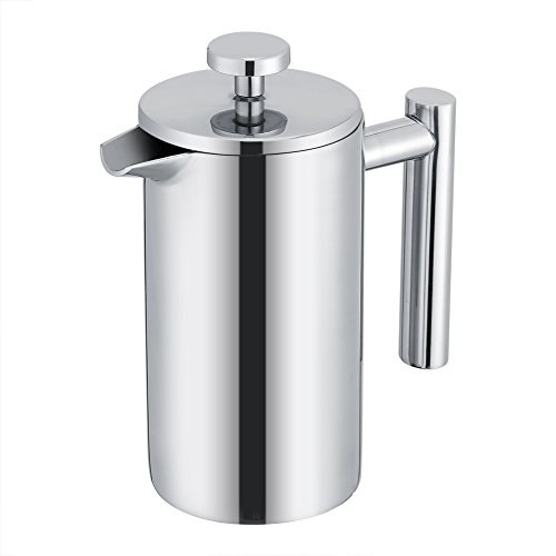French Press Cafetiere Coffee Tea Maker, 350ML Tetera de café de acero inoxidable de doble pared con filtro para el hogar, la oficina, la cafetería de Tosuny
