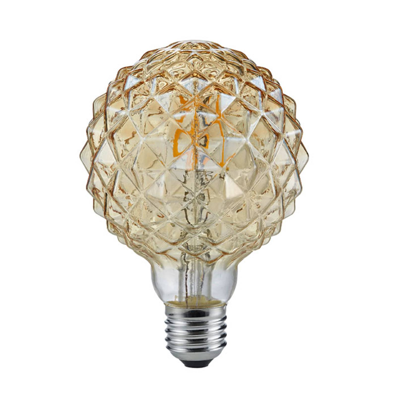 Bombilla globo LED E27 4W 2.700K estructura ámbar de Trio Lighting