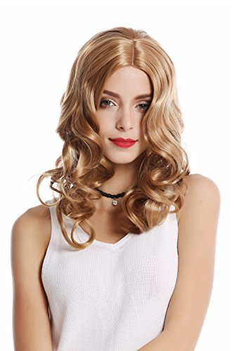 WIG ME UP- 90654-K26 Peluca mujer Carnaval Halloween largo ondulado voluminoso raya medio rubio de WIG ME UP
