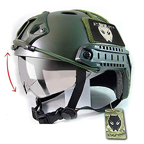 Casco con gafas protectoras de estilo militar para airsoft y paintball, color verde de Worldshopping4U