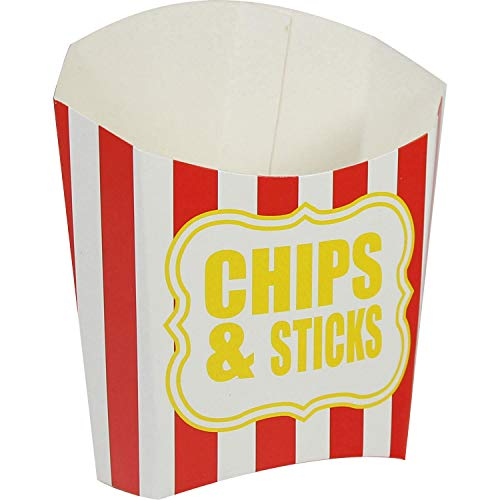 amscan- Red and Stripe Fries Party Container-1 Pc. Contenedor de Fiesta de Patatas Fritas Rojas y a Rayas, 1 Unidad. (9900103) de amscan